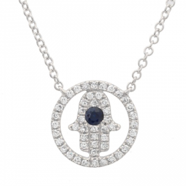 14k White Gold Diamond Hamsa  Protector Necklace