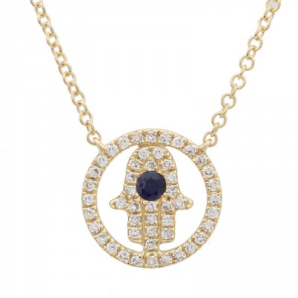 14k Yellow Gold Diamond Hamsa Protector Necklace
