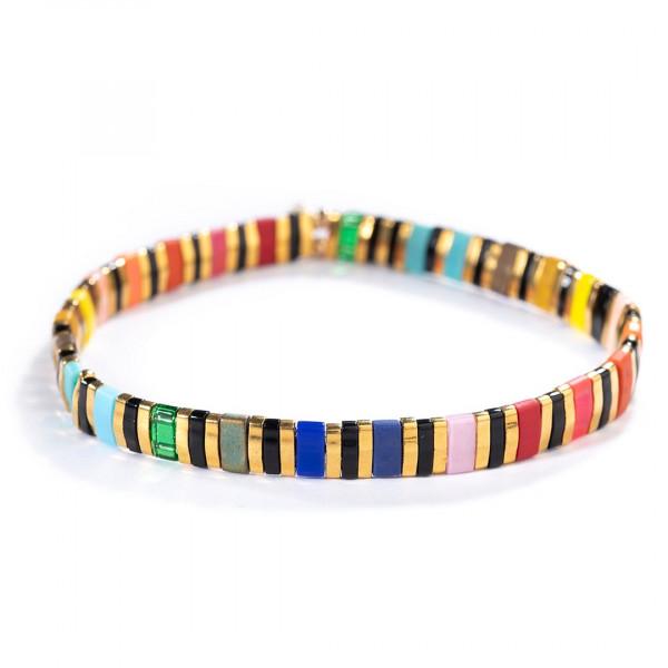 Candy Beaded Bracelet - Black Rainbow