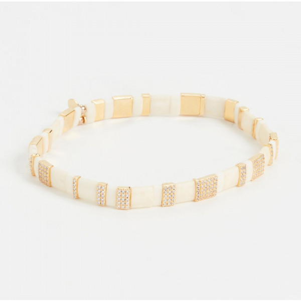Two Toned Pave Beaded Bracelet - White