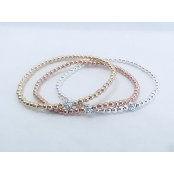 Single Gold  Beaded Bracelet w cz Pave Ball