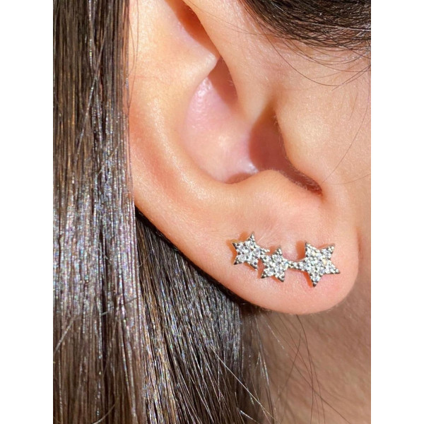 Sterling Silver Star CZ stud Earring