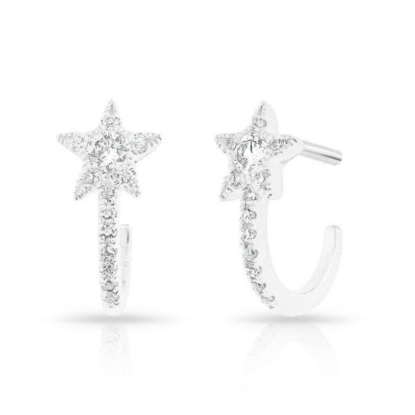 14k White Gold Diamond Star Huggie on Post