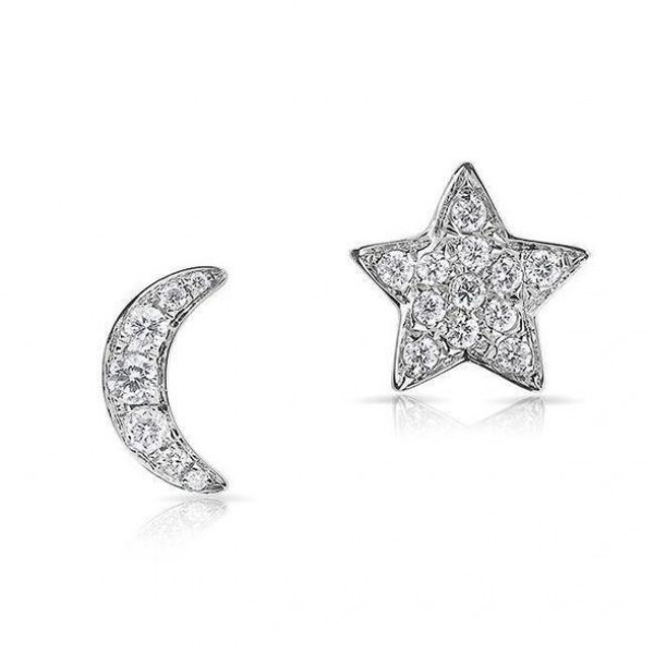 14k White Gold Diamond  Moon & Star Studs