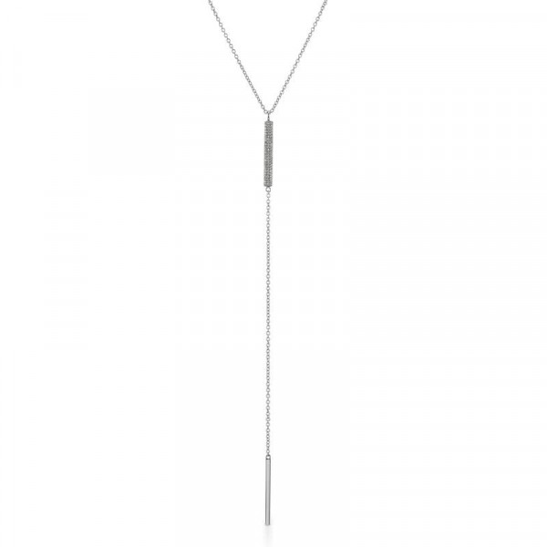 Sterling Silver Oxidized Diamond Bar Lariat
