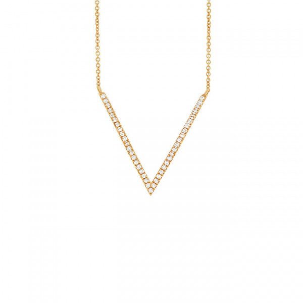 14K Yellow Gold Diamond Pave Necklace