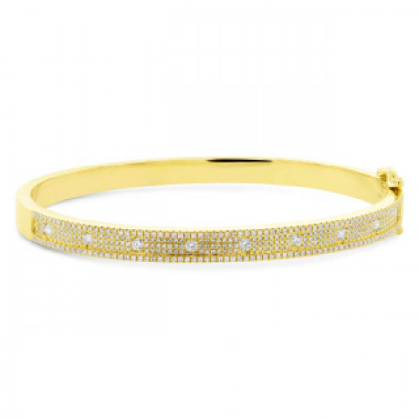 14k Yellow Gold Pave Diamond Bangle