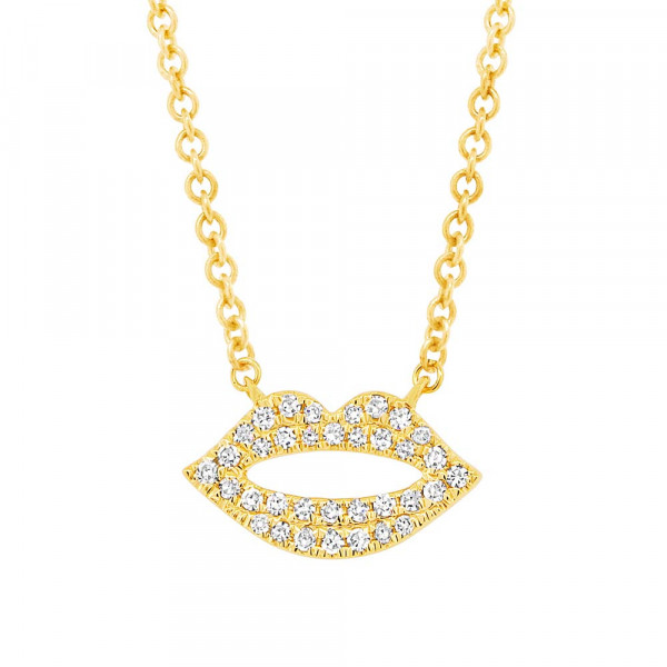 14k Yellow Gold Pave Diamond Lips Necklace