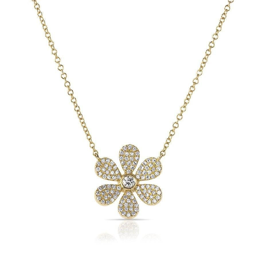 14k yellow gold diamond daisy flower necklace mightylinksfo Choice Image