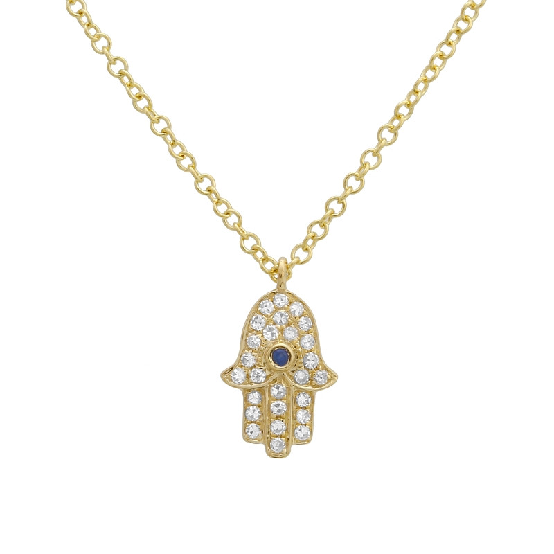 14k yellow gold mini diamond hamsa necklace mozeypictures