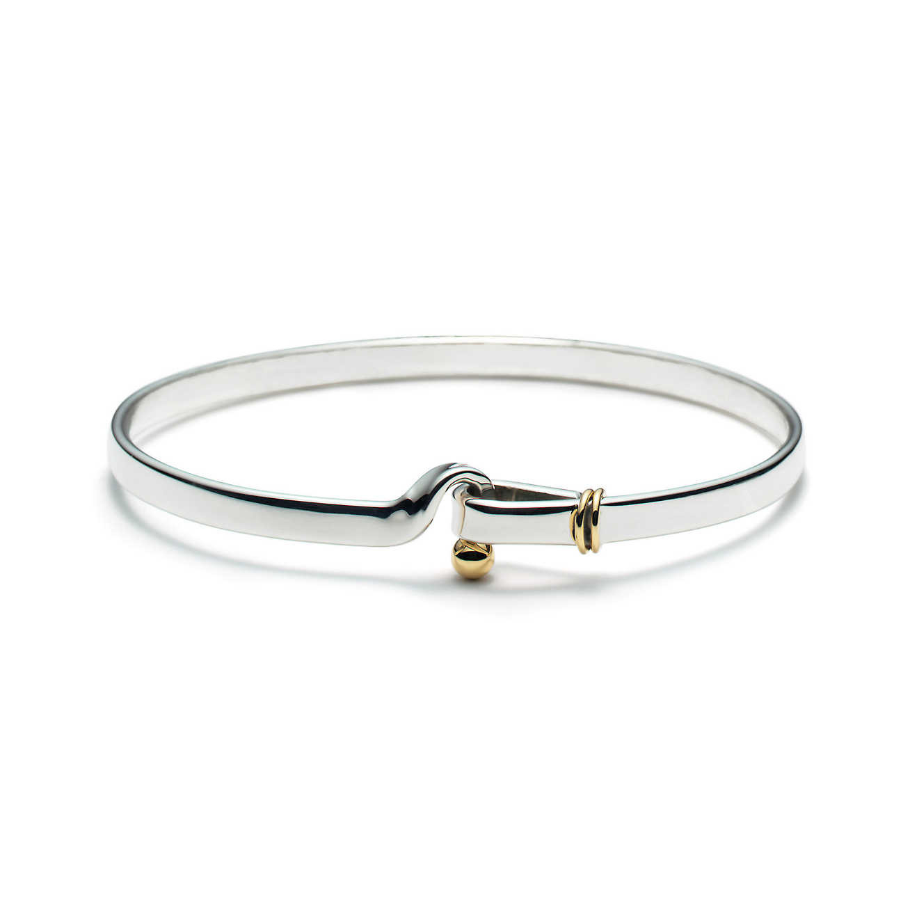 ed3cd0923 Tiffany Style Sterling Silver Hook & Eye Bangle with 14K Gold Detail