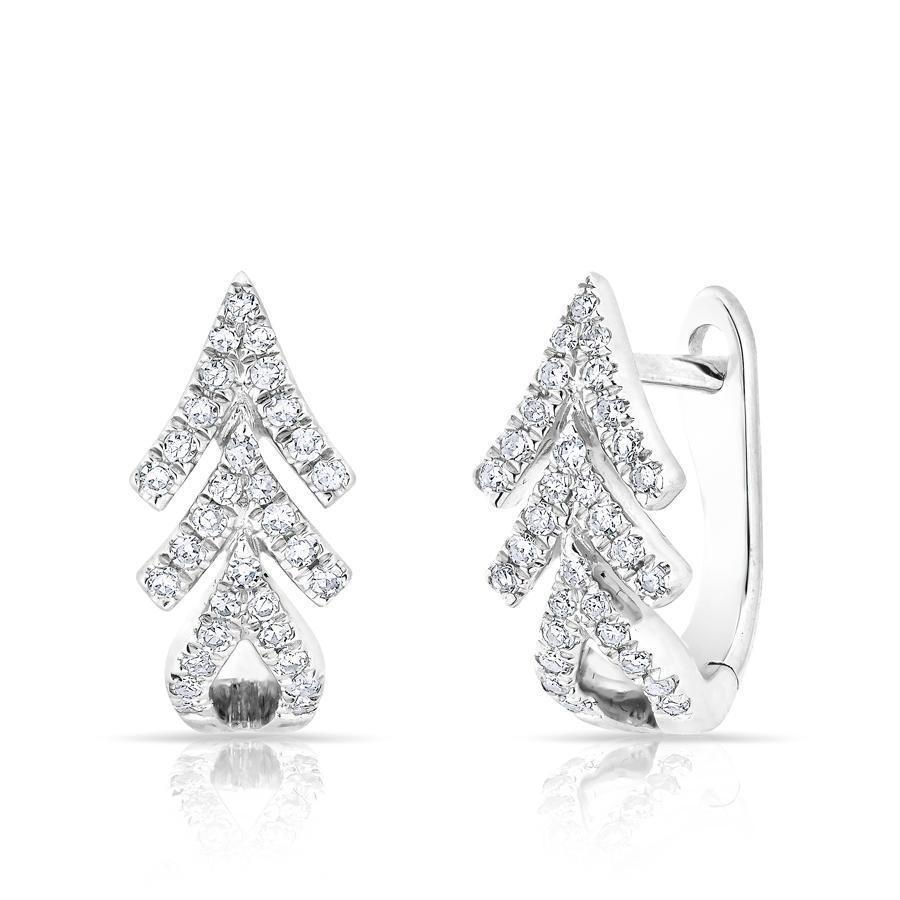 14k White Gold Diamond Arrow Huggie Earrings