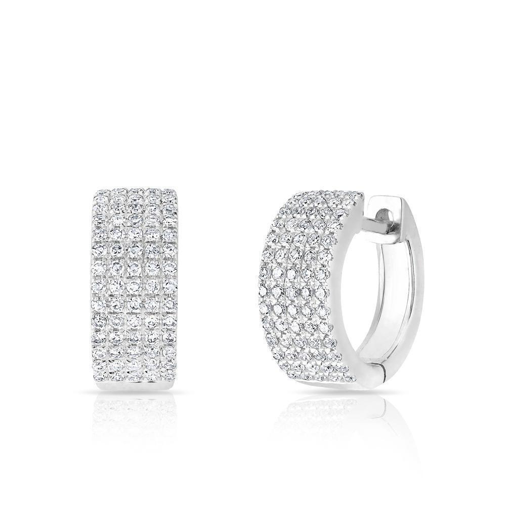 81d7d5587a1ef 14k White Gold Pave Diamond Huggie earrings