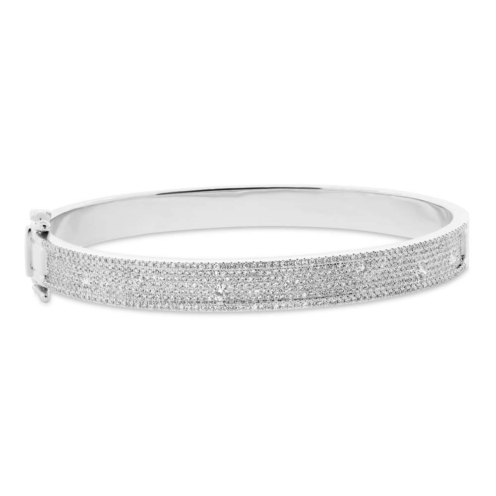 diamond bangle jewelry sterling flower pave daisy cz bridal bangles bling tone swirl bracelet silver