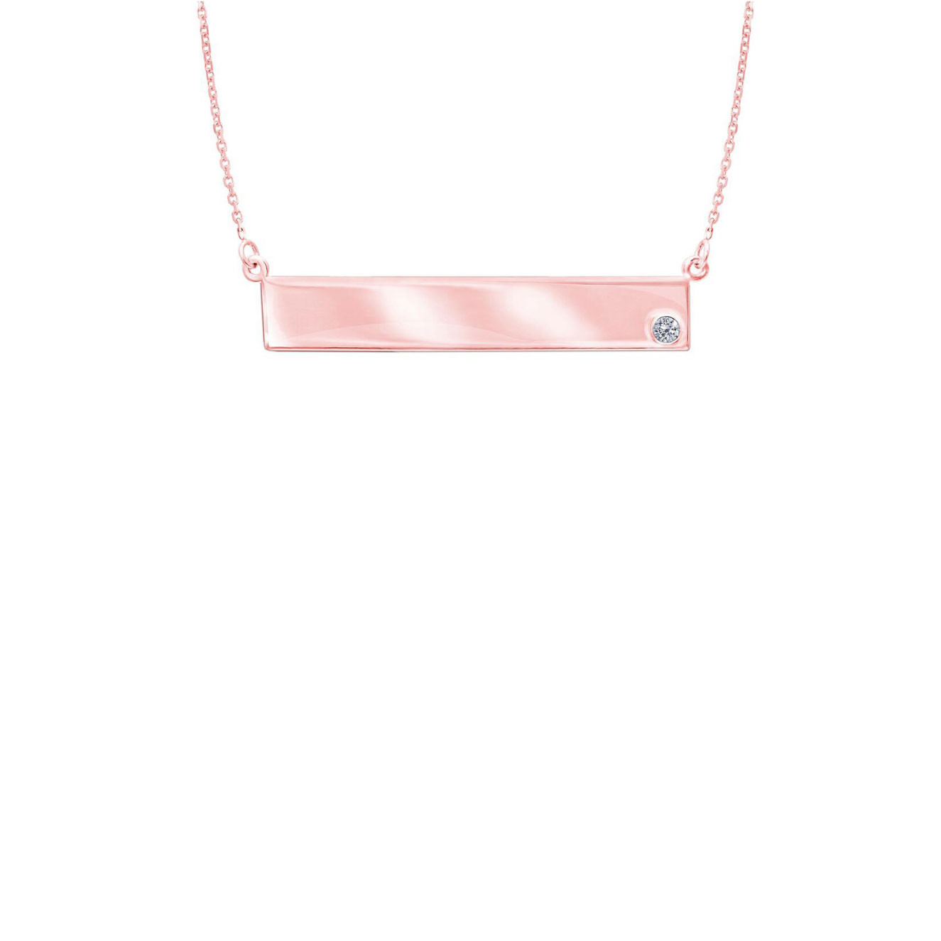 Rose gold nameplate necklace with solitaire diamond 14k rose gold nameplate necklace with diamond aloadofball Image collections