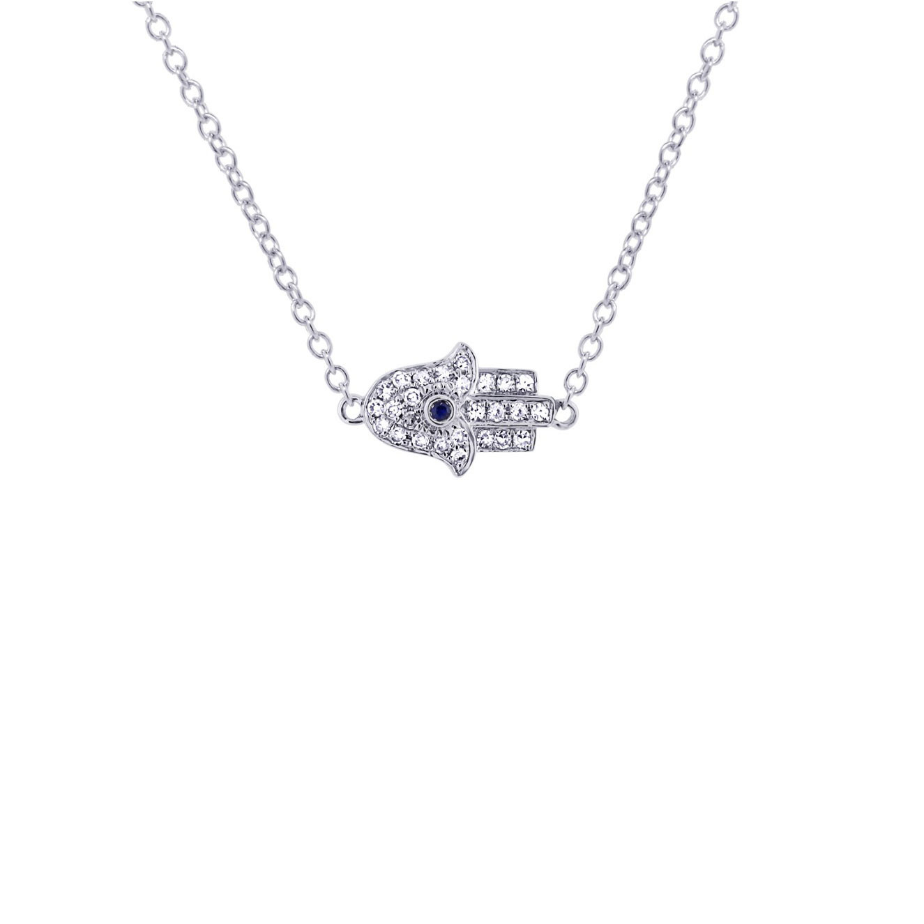 Diamond white gold hamsa necklace with sapphire detail 14k white gold diamondsapphire hamsa necklace mozeypictures Images