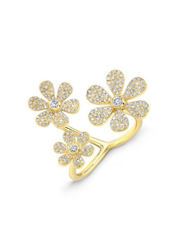 14k yellow gold diamond pave triple flower ring rings 14k yellow gold diamond pave triple flower ring mightylinksfo