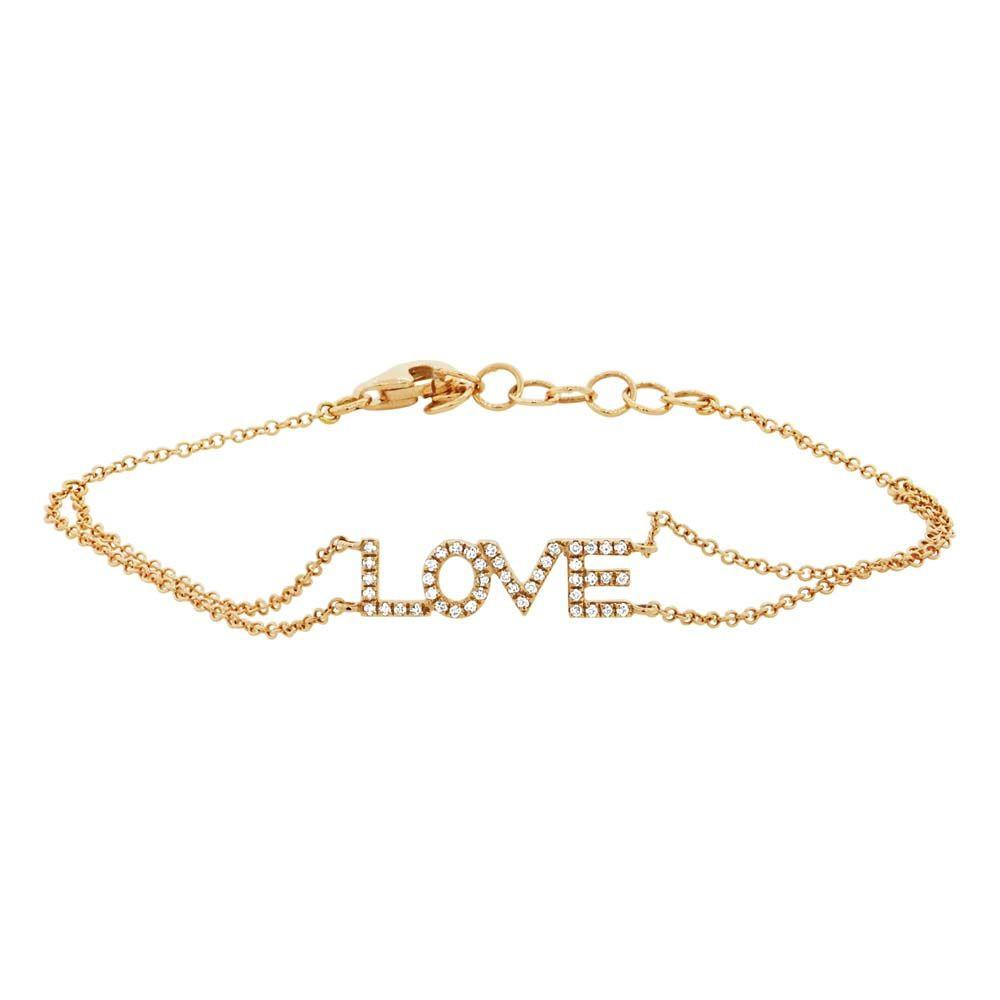 14k Yellow Gold Diamond Love Bracelet