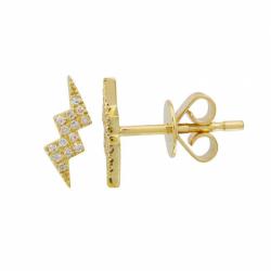 14k Yellow Gold Diamond Zig Zag Stud (Single)