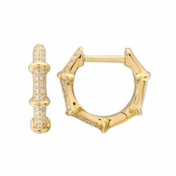 14k Yellow Gold Diamond Bamboo Huggies