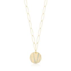 18k Yellow Gold Plating Link Cz Medallion Necklace