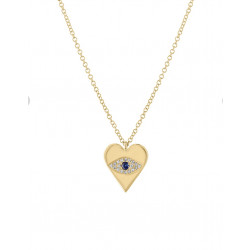 14k Yellow Gold Diamond Evil Eye Heart Necklace