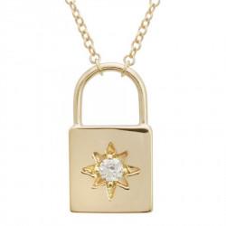 14k Yellow Gold DIamond Lock Necklace