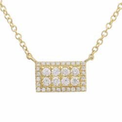 14k Yellow Gold Diamond Pave Mini Rectangle Mecklace