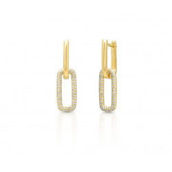 14k Yellow Gold DIamond Link Earring