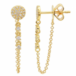 14k Yellow Gold Diamond chain earring