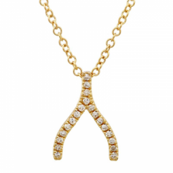 14k Yellow Gold Diamond Wishbone Necklace