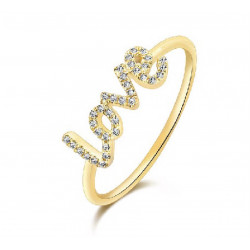 14k Yellow Gold Diamond Love ring