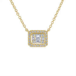 14k Yellow Gold Diamond Baquette Necklace