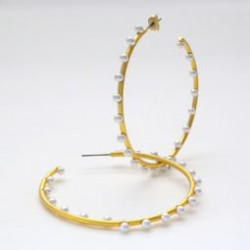 14k Gold Plated 2 inch Pearl Hoops