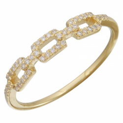 14k Yellow Gold Diamond Link Band Ring
