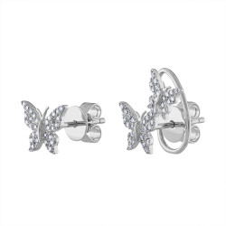 14k White Gold Diamond Butterfly Earrings
