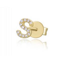 14k Diamond Intial  Stud Single Earring