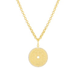 18k Gold Plated Medallion On Rolo Chain Necklace