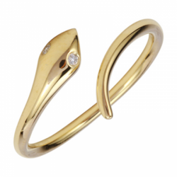 14k Yellow Gold Diamond Snake Ring