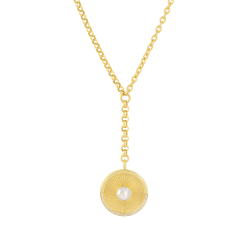 18k Yellow Gold Plated Lariat With Moonstone Pendant Necklace