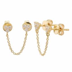 14k Yellow Gold Diamond Double Pierce Chain Earring