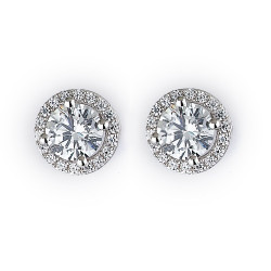 Sterling Silver Rhodium Plated and CZ Stud Halo Earring