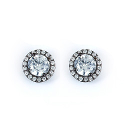 Sterling Silver Black Rhodium Plated and CZ Stud Halo Earring