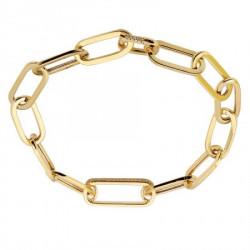 14k Yellow Gold Link Bracelet w Diamond Accent