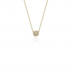 14K Yellow Gold Round Diamond Pave Disc Necklace
