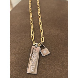 Sterling Silver Diamond Love Tag on Link Chain