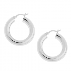 Classic 18K White Gold Plated Hoops
