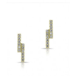 14k Diamond Double Bar Studs