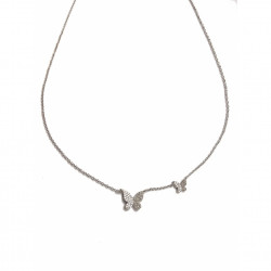14k Diamond White Gold Double Butterfly Necklace