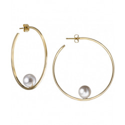 Gold Plated Hoop w Pearl